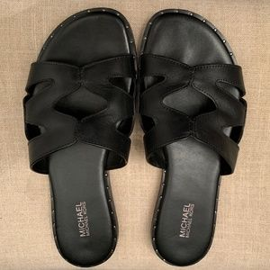 Michael Kors Annalee Slide Leather Sandal 6.5